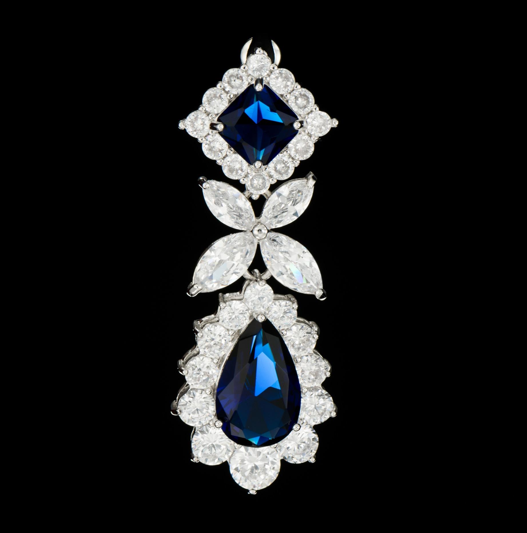 Cercei diamante - blue - Fotografie de produs 360 grade